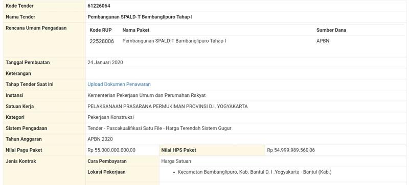 Pengumuman+lelang+Proyek+SPALD-T+Bambanglipuro+Tahap+I